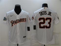 Mens Mlb San Diego Padres #23 Fernando Tatis Jr. White Stripe Mitchell&ness Cool Base Nike Jersey