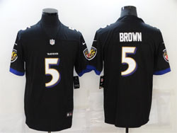 Mens Nfl Baltimore Ravens #5 Marquise Brown Black Vapor Untouchable Limited Nike Jersey