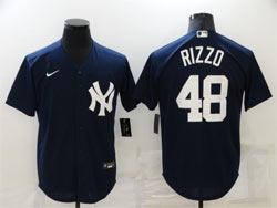 Mens Mlb New York Yankees #48 Anthony Rizzo Blue Cool Base Nike Jersey