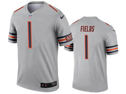 Mens 2021 Nfl Chicago Bears #1 Justin Fields Gray Inverted Legend Nike Jersey