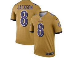 Mens 2021 Nfl Baltimore Ravens #8 Lamar Jackson Gray Inverted Legend Nike Jersey