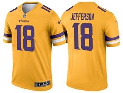 Mens 2021 Nfl Minnesota Vikings #18 Justin Jefferson Yellow Inverted Legend Nike Jersey