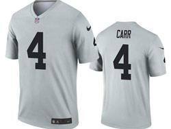 Mens 2021 Nfl Las Vegas Raiders #4 Derek Carr Gray Inverted Legend Nike Jersey