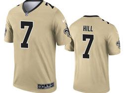 Mens 2021 Nfl New Orleans Saints #7 Taysom Hill Gold Inverted Legend Nike Jersey