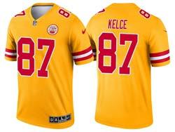 Mens 2021 Nfl Kansas City Chiefs #87 Travis Kelce Yellow Inverted Legend Nike Jersey