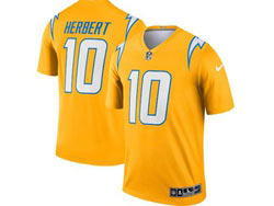 Mens 2021 Nfl Los Angeles Chargers #10 Justin Herbert Yellow Inverted Legend Nike Jersey