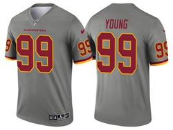 Mens 2021 Nfl Washington Football Team #99 Chase Young Gray Inverted Legend Nike Jersey