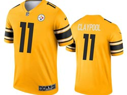 Mens 2021 Nfl Pittsburgh Steelers #11 Chase Claypool Yellow Inverted Legend Nike Jersey