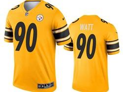 Mens 2021 Nfl Pittsburgh Steelers #90 Jj Watt Yellow Inverted Legend Nike Jersey