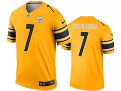 Mens 2021 Nfl Pittsburgh Steelers #7 Ben Roethlisberger Yellow Inverted Legend Nike Jersey
