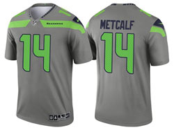 Mens 2021 Nfl Seattle Seahawks #14 Dk Metcalf Gray Inverted Legend Nike Jersey