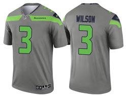 Mens 2021 Nfl Seattle Seahawks #3 Russell Wilson Gray Inverted Legend Nike Jersey