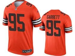 Mens 2021 Nfl Cleveland Browns #95 Myles Garrett Orange Inverted Legend Nike Jersey