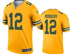 Mens 2021 Nfl Green Bay Packers #12 Aaron Rodgers Yellow Inverted Legend Nike Jersey
