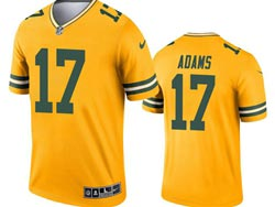 Mens 2021 Nfl Green Bay Packers #17 Davante Adams Yellow Inverted Legend Nike Jersey