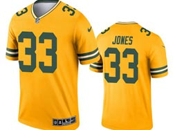 Mens 2021 Nfl Green Bay Packers #33 Aaron Jones Yellow Inverted Legend Nike Jerseyy