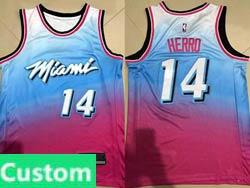 Mens 2021 Nba Miami Heat Custom Made Blue&pink Gradient City Edition Swingman Nike Jersey