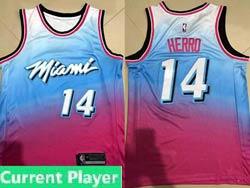 Mens 2021 Nba Miami Heat Current Player Blue&pink Gradient City Edition Swingman Nike Jersey