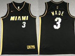 Mens 2021 Nba Miami Heat #3 Dwyane Wade Black Golden Nike Jersey