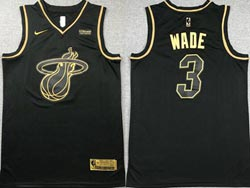 Mens Nba Miami Heat #3 Dwyane Wade Black Golden Nike Jersey