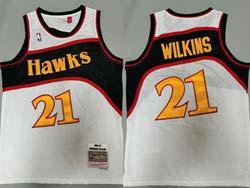 Mens Nba Atlanta Hawks #21 Dominique Wilkins White 86-87 Mitchell&ness Hardwood Classics Swingman Jersey