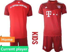 Kids 21-22 Soccer Bayern Munchen Current Player Red Home Short Sleeve Suit Jersey