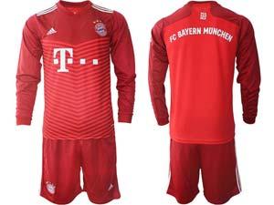 Mens Kids 21-22 Soccer Bayern Munchen Custom Made Red Home Long Sleeve Suit Jersey