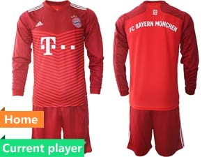 Mens Kids 21-22 Soccer Bayern Munchen Current Player Red Home Long Sleeve Suit Jersey