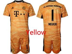 Mens Kids 21-22 Soccer Bayern Munchen Custom Made Goalkeeper Short Sleeve Suit Jersey