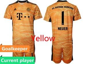 Mens Kids 21-22 Soccer Bayern Munchen Current Player Goalkeeper Short Sleeve Suit Jersey