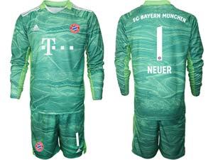 Mens 21-22 Soccer Bayern Munchen Custom Made Goalkeeper Long Sleeve Suit Jersey
