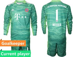 Mens 21-22 Soccer Bayern Munchen Current Player Goalkeeper Long Sleeve Suit Jersey