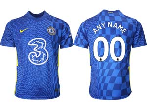 Mens 21-22 Soccer Chelsea Club Custom Made Blue Home Thailand Short Sleeve Jersey