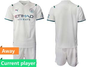 Mens Kids 21-22 Soccer Manchester City Club Current Player White Away Short Sleeve Suit Jersey