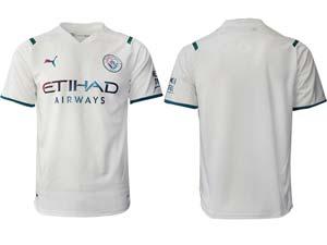 Mens 21-22 Soccer Manchester City Club Custom Made White Away Thailand Short Sleeve Jersey