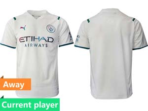 Mens 21-22 Soccer Manchester City Club Current Player White Away Thailand Short Sleeve Jersey