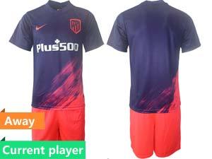 Mens 21-22 Soccer Atletico De Madrid Club Current Player Purple Away Short Sleeve Suit Jersey