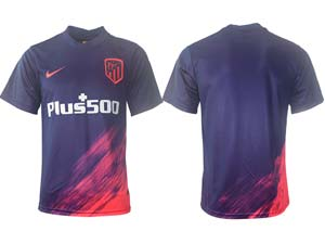 Mens 21-22 Soccer Atletico De Madrid Club Custom Made Purple Away Thailand Short Sleeve Jersey