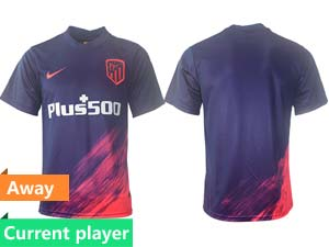 Mens 21-22 Soccer Atletico De Madrid Club Current Player Purple Away Thailand Short Sleeve Jersey