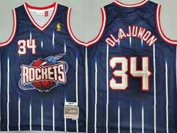 Mens Nba Houston Rockets #34 Hakeem Olajuwon Dark Blue Stripe 96-97 Mitchell&ness Hardwood Classics Jersesy