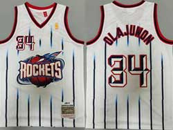 Mens Nba Houston Rockets #34 Hakeem Olajuwon White Stripe 96-97 Mitchell&ness Hardwood Classics Jersesy