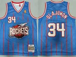 Mens Nba Houston Rockets #34 Hakeem Olajuwon Light Blue Stripe 96-97 Mitchell&ness Hardwood Classics Jersesy