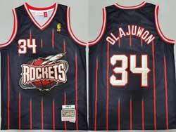 Mens Nba Houston Rockets #34 Hakeem Olajuwon Black Stripe 96-97 Mitchell&ness Hardwood Classics Jersesy