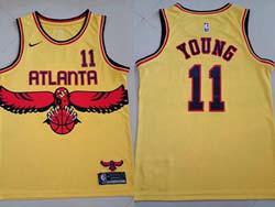 Mens Nba Atlanta Hawks #11 Trae Young Yellow 2021-22 City Edition Nike Swingman Jersey