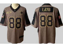 Mens Nfl Dallas Cowboys #88 Ceedee Lamb Olive Green 2021 Salute To Service Limited Jersey