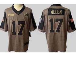 Mens Nfl Buffalo Bills #17 Josh Allen Olive Green 2021 Salute To Service Limited Jersey