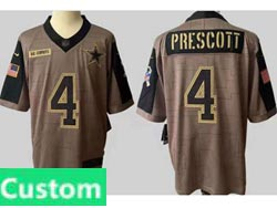 Mens Women Youth Nfl Dallas Cowboys Custom Made Olive Green 2021 Salute To Service Limited Jersey