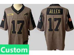 Mens Women Youth Nfl Buffalo Bills Custom Made Olive Green 2021 Salute To Service Limited Jersey