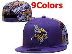 Mens Nfl Minnesota Vikings Falt Snapback Adjustable Hats 9 Colors