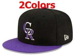 Mens Mlb Colorado Rockies Falt Snapback Adjustable Hats 2 Colors